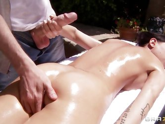 Brandy was sunning herself outside naked. She asked Danny the gardener to give her a massage. So she lied down, hot and naked and Danny got to work. B