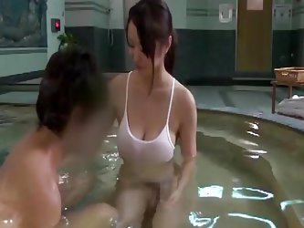 Shyness has no cure, so this MILF with large tits has to take the initiative to help this timid man. She took care of him from washing his penis down