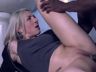 Mature blonde slut is eagerly fucking a handosme, black guy and enjoying it a lot