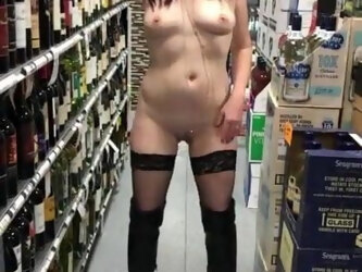 Naked in store except her boots risky hot bitch