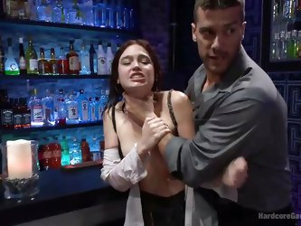 Are you a fan of dirty sluts who only live to get fucked hard? The brunette in the video is surrounded by five angry and horny dicks. Her hair is pull
