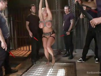 A hot blonde milf with big lovely tits has been tied up and then freed to entertain five horny cocks. The bitch is helpless and will be terribly used.