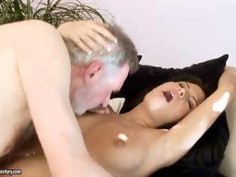 Smoking hot dark haired babe Amabella with tight ass and nice natural boobs gives head to filthy grandpa and screams while he fucks her in living room