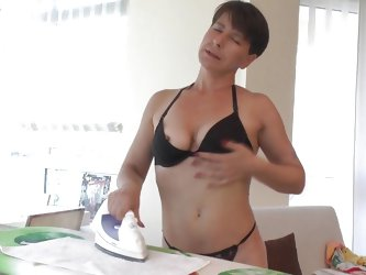 While doing her housework Lucienna suddenly felt horny. She was ironing but soon thew bitch forget about that and started to rub her boobs and get nak