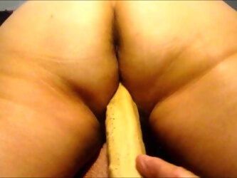 Wife working her big ass on her 10 inch dildo.