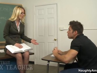 Professor Anita Blue spends time with Johnny, tutoring him after class so he can do well on his business test. After he takes the exam, he stops by he