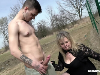 Amateur outdoor fucking with a handsome dude and a mature blonde