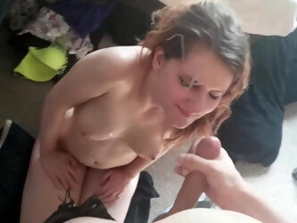 Wife on her knees takes a facial