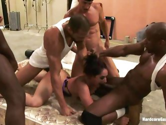 Horny brunette chick Sheena Ryder has learned a lesson of a lifetime! These four horny guys got crazy for a piece of her sexy slutty flesh! Deepthroat