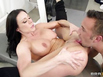 One of a kind black haired milf Kendra Lust with big firm tits and sexy french manicure gets her pink minge banged deep by ass licking Keiran Lee in m