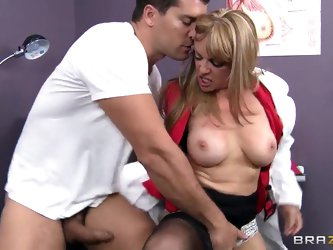 There is no doubt that this MILF doctor has the cure for his long hard dick. All she has to do is open her mouth and shove it deep down her throat in