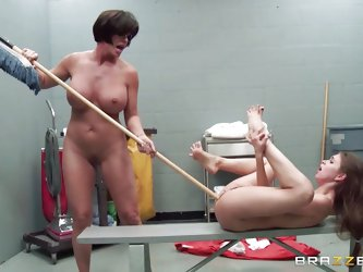 Riley is new in the housekeeping game and Shay makes sure, she initiates her new recruit properly. Shay fucks Riley's twat and mouth with a broom