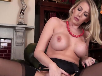 Home alone Danielle Maye moans while pleasuring her wet pussy