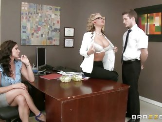 Why not de-stress the atmosphere at the work place? Two horny ladies call an employer to entertain them. Watch the slutty milfs undressing and getting