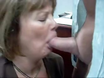 Mature blonde wife sucking my white cock deep and hard in her lovely mouth like the amateur blowjob slut she is.  I reward her by giving her a messy f