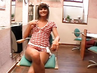 Crazy slut Molly finds herself in an office room with her titties outside her dress. There is a horny man with her, who`s filming her playing with her