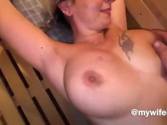 Milf wife screams during sauna sex