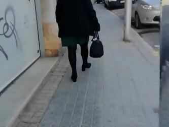 Grandma with short skirt and pantyhose