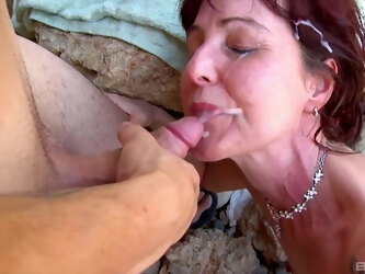 Dirty mature Joycelina fucked by a younger lover by the sea