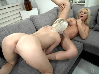 Mature lady uses her seductive charms on a young woman with a big butt