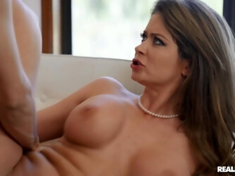Glamour wife Emily Addison teases and gets fucked balls deep