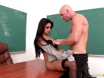 Johnny Sins tries to figure out what is particularly wrong with Jasmine Rain, and he almost takes the praise during their fervent coitus in the classr