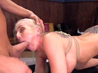 Alluring blonde tries her first ever gagged hardcore shag