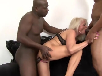 Nasty granny got down and dirty with two handsome, black guys, in her living room