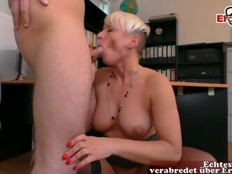 german saggy tits mature mom fuck on the table
