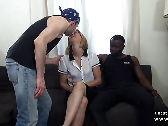 French mature mom hard DP by white an black dicks