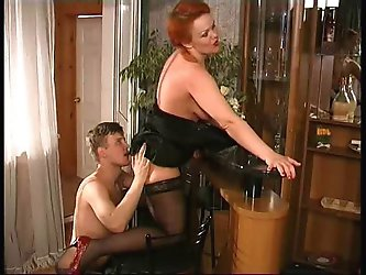 Chubby redhead russian milf loves to fuck with young guys