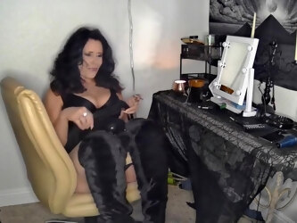 Extreme Shoeporn- Mature Woman Wears Thigh High Stilettos With Huge Strapon & Long Fingernail Play