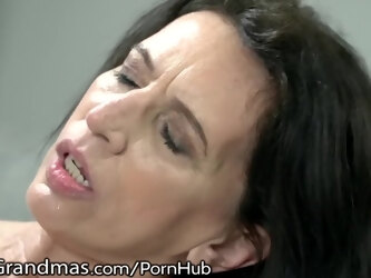 LustyGrandmas Skinny Mature Likes it Doggy