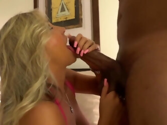 Experienced blonde mature got down and dirty with a black dude and enjoyed eating his cum