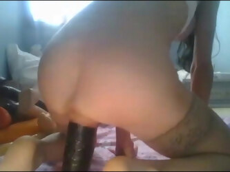 Rosie Fucks a Huge Black Dildo and Squirts