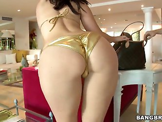 Arousing tattooed playful brunette milf Jayden Jaymes with big juicy ass and massive firm hooters in sexy golden bikini gets naughty and teases all ov