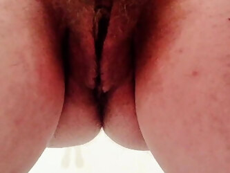 Close up golden shower POV by hairy BBW