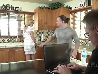 Blonde MILF gets seduced by a horny young stud