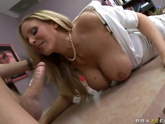 Julia Ann and Xander Corvus work together on a very important project. On the morrow of their presentation Julia suddenly bares her breasts and perfor