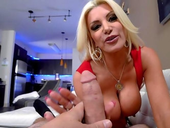 MILF grabs the dick and sucks it in merciless POV