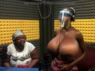 African mum showing her daughter's enormous tits