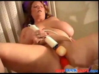 BBW Redhead Enjoys Fuck Machine Session
