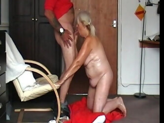 Repost.. greasy granny gags on my cock and drinks my cum