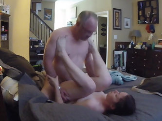 Young woman sucking and fucking old man