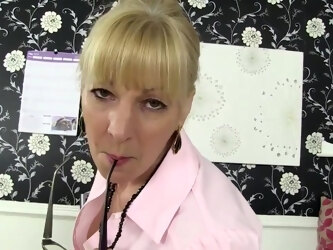 Blonde Granny In Black Stockings, Elaine Is Masturbating While At Work, Because It Feels Good