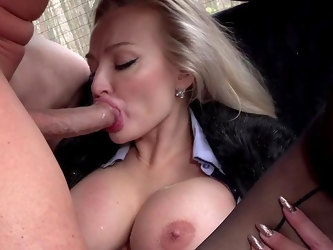 Intense back seat XXX porn with a blonde whore