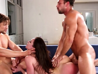 Hardcore spit-roast MMF threesome with busty MILF Kendra Lust