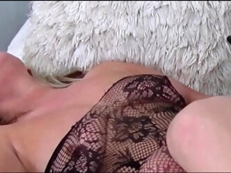 Hot wife in sexy lingerie fucking and sucking two hard dicks