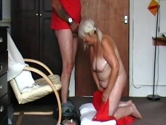 Greasy granny sucks on cock and drinks my cum