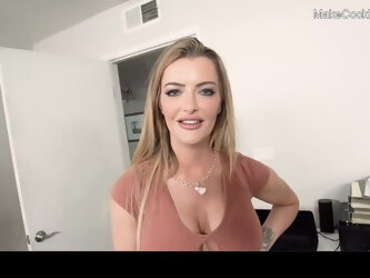 Hot big tits MILF blows big cock. Cum on face. Busty whore
